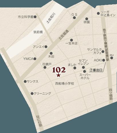 和食ランチ・お弁当のお店「Edobori Dashi Kitchen 102(江戸堀だしキッチン102)」は肥後橋駅から徒歩3分。ランチタイムのみ営業。